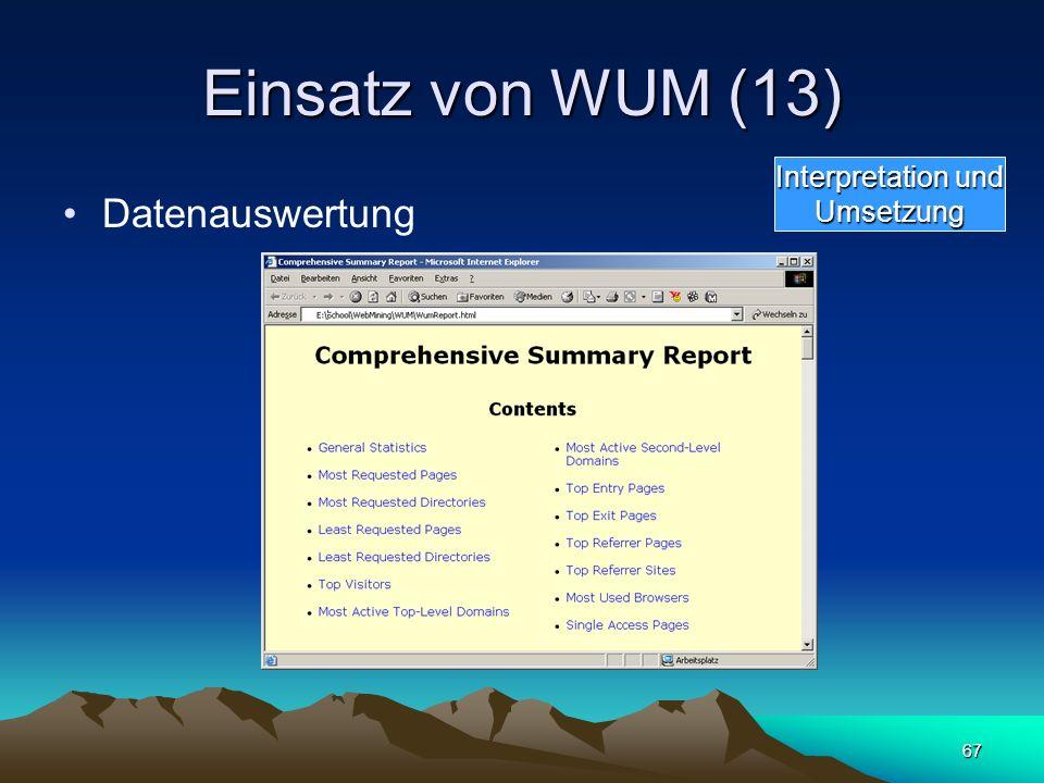 Einsatz von WUM (13) Interpretation und Umsetzung Datenauswertung