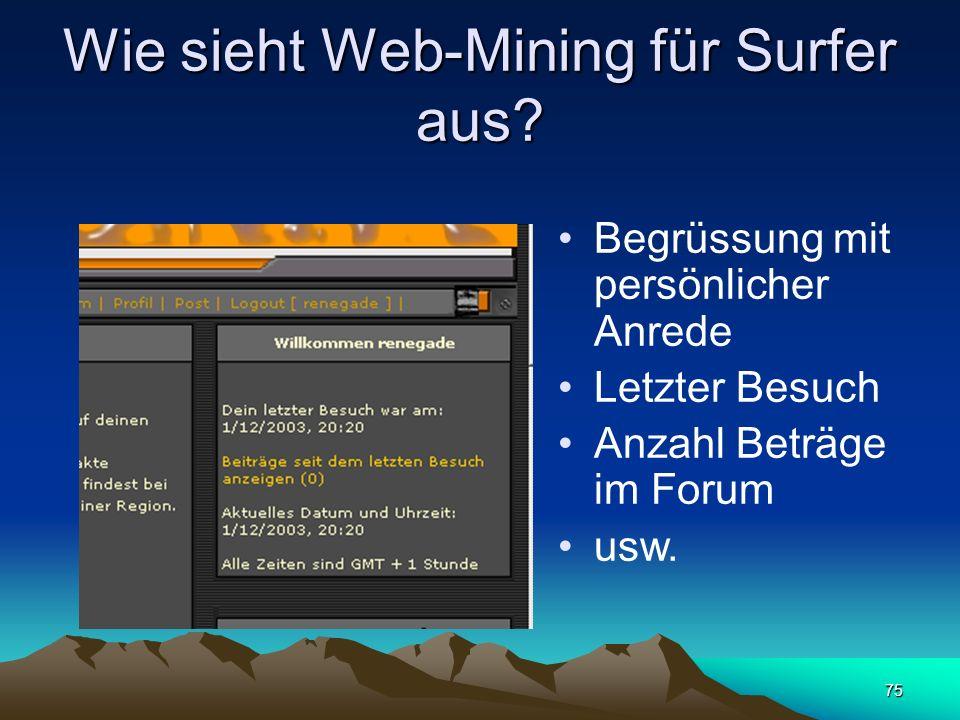 Wie sieht Web-Mining für Surfer aus