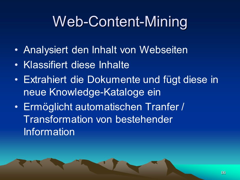 Web-Content-Mining Analysiert den Inhalt von Webseiten