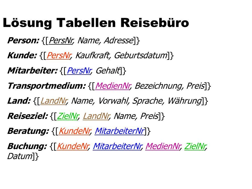 Lösung Tabellen Reisebüro