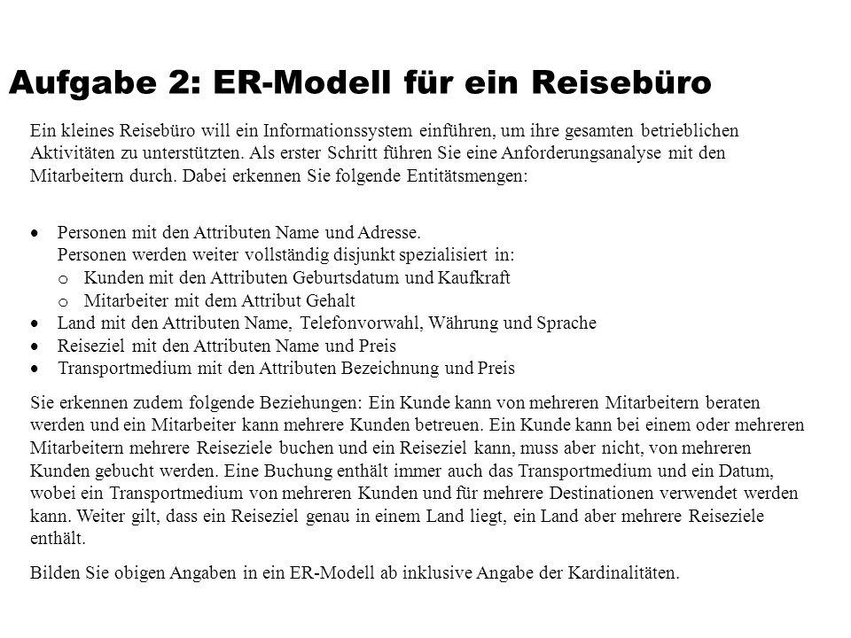Aufgabe 2: ER-Modell für ein Reisebüro