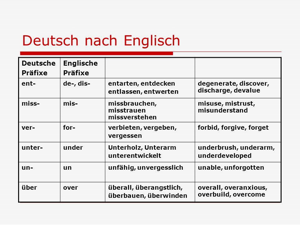 Deutsch nach Englisch Deutsche Präfixe Englische ent- de-, dis-