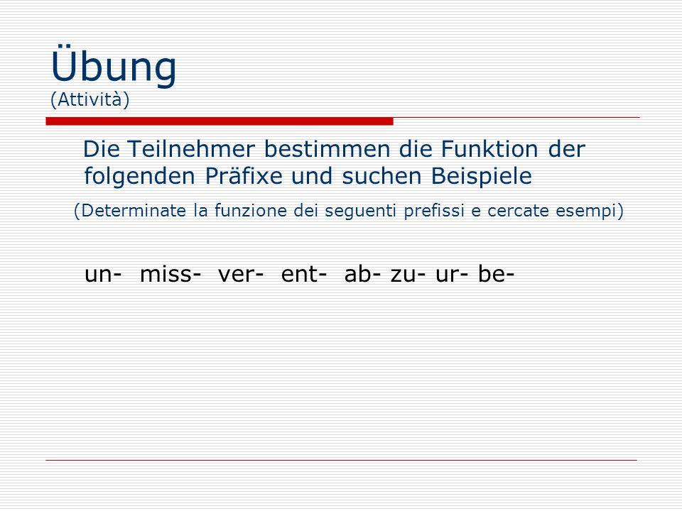 Übung (Attività) Die Teilnehmer bestimmen die Funktion der folgenden Präfixe und suchen Beispiele.