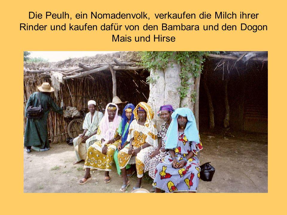 Die Peulh, ein Nomadenvolk, verkaufen die Milch ihrer Rinder und kaufen dafür von den Bambara und den Dogon Mais und Hirse