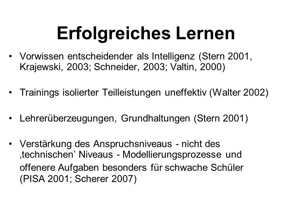 Erfolgreiches LernenVorwissen entscheidender als Intelligenz (Stern 2001, Krajewski, 2003; Schneider, 2003; Valtin, 2000)