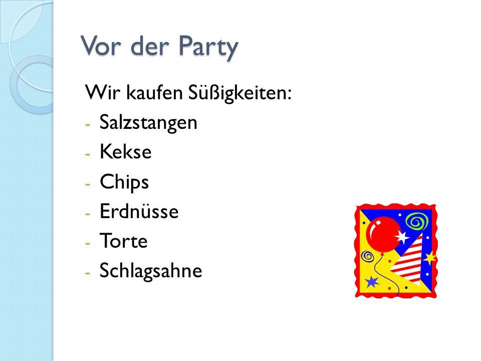 Vor der Party Wir kaufen Süßigkeiten: Salzstangen Kekse Chips Erdnüsse