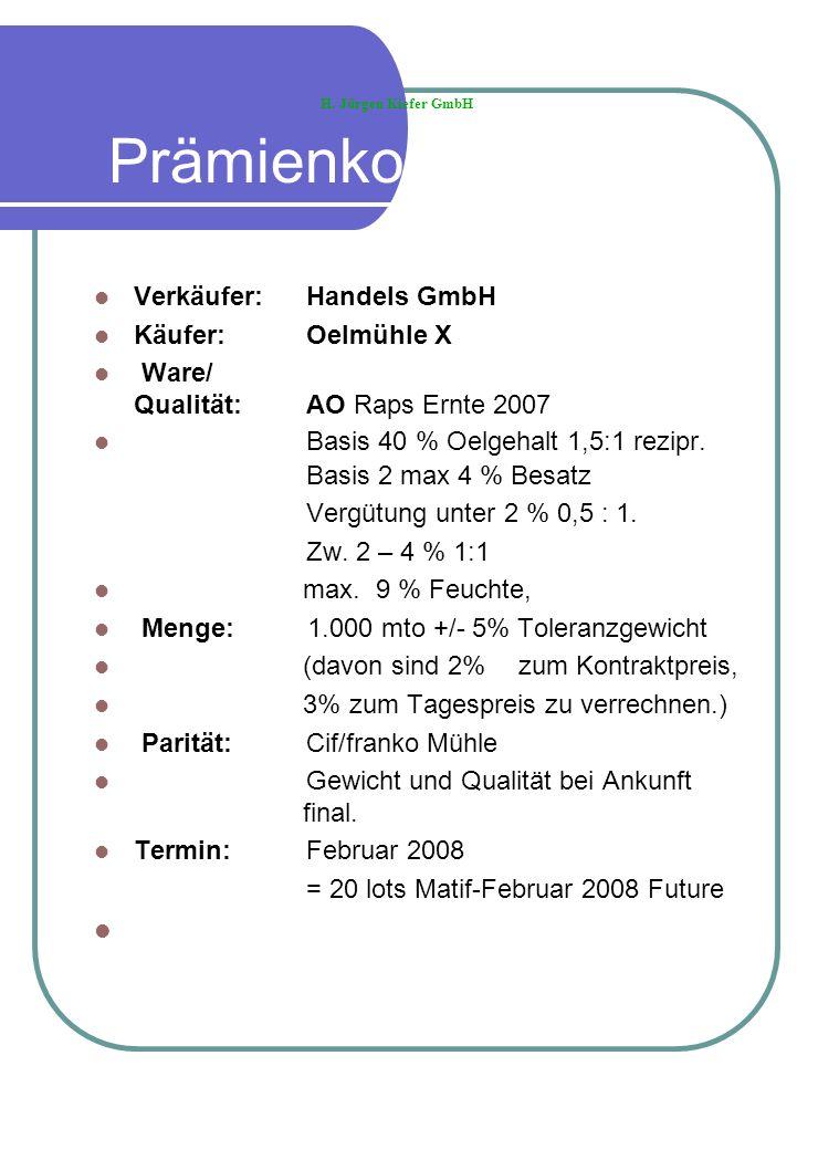 Prämienkontrakt Verkäufer: Handels GmbH Käufer: Oelmühle X