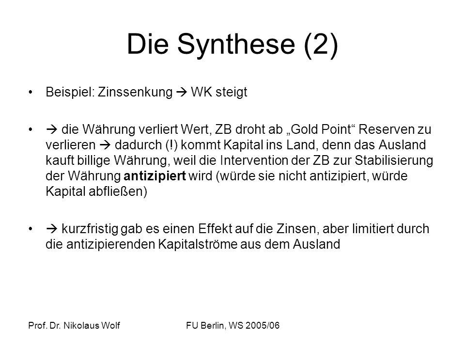 Die Synthese (2) Beispiel: Zinssenkung  WK steigt