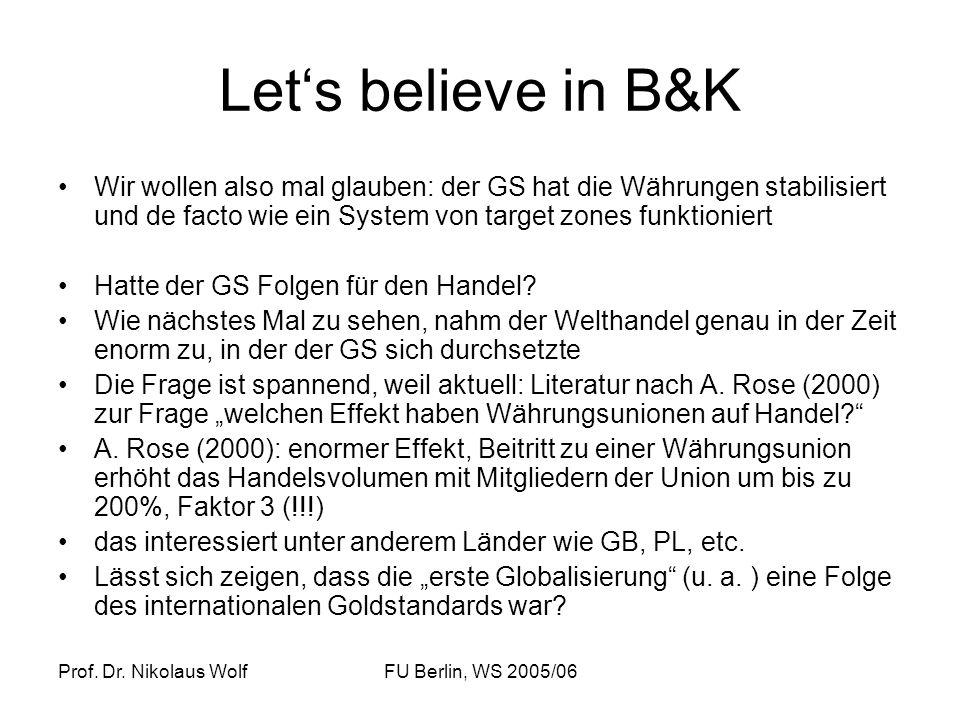 Let's believe in B&K Wir wollen also mal glauben: der GS hat die Währungen stabilisiert und de facto wie ein System von target zones funktioniert.