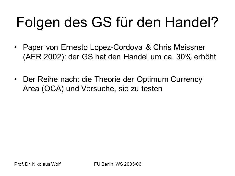 Folgen des GS für den Handel
