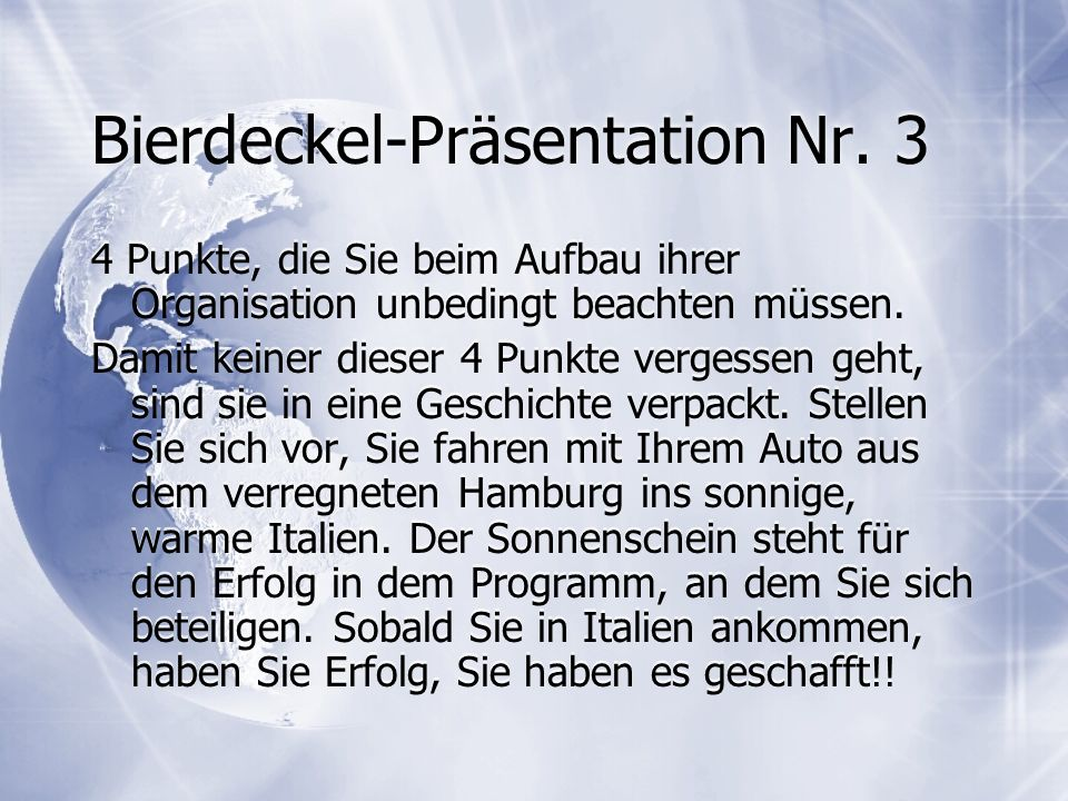 Bierdeckel-Präsentation Nr. 3