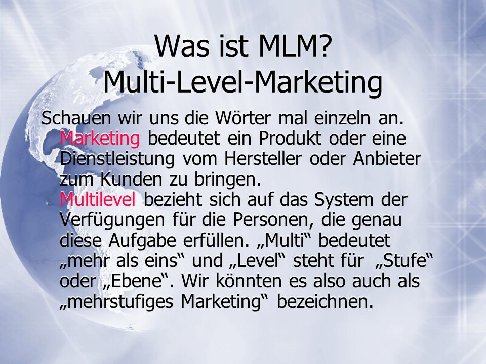 Was ist MLM Multi-Level-Marketing