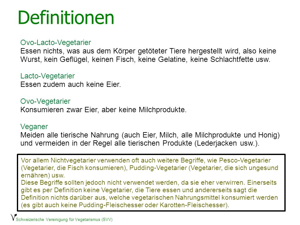 Definitionen Ovo-Lacto-Vegetarier