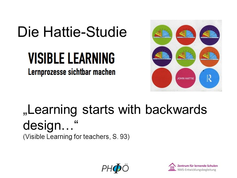 "Die Hattie-Studie ""Learning starts with backwards design… (Visible Learning for teachers, S. 93) 2"
