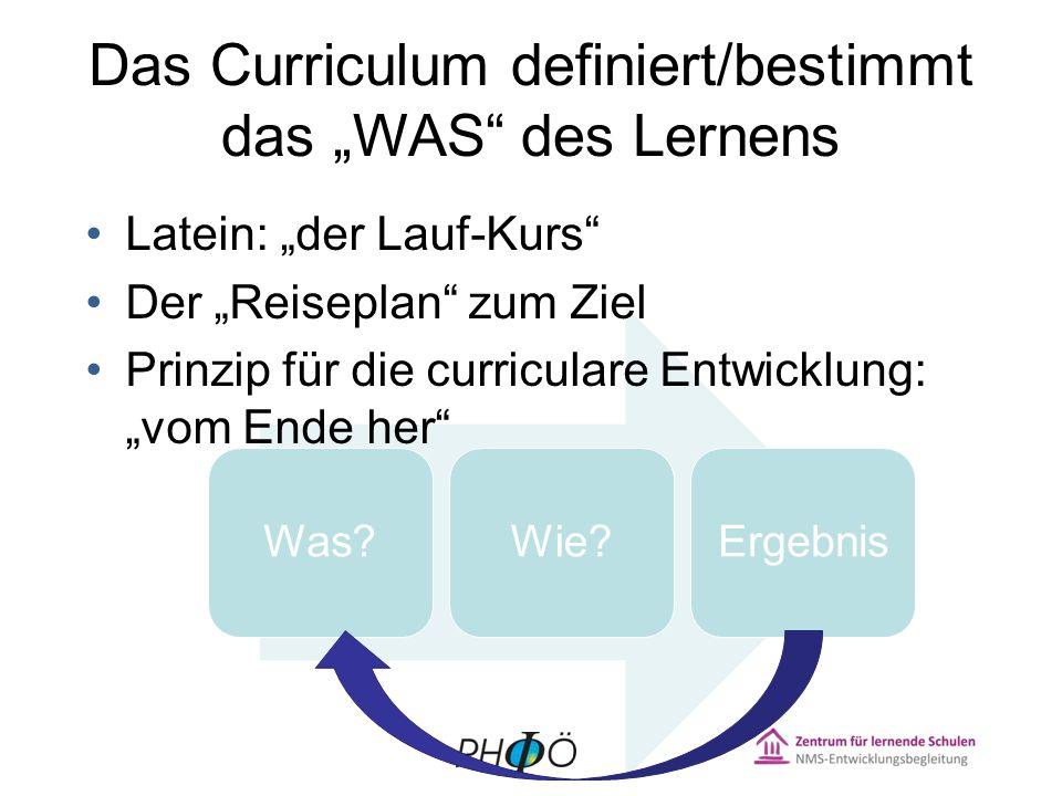"""Das Curriculum definiert/bestimmt das """"WAS des Lernens"""