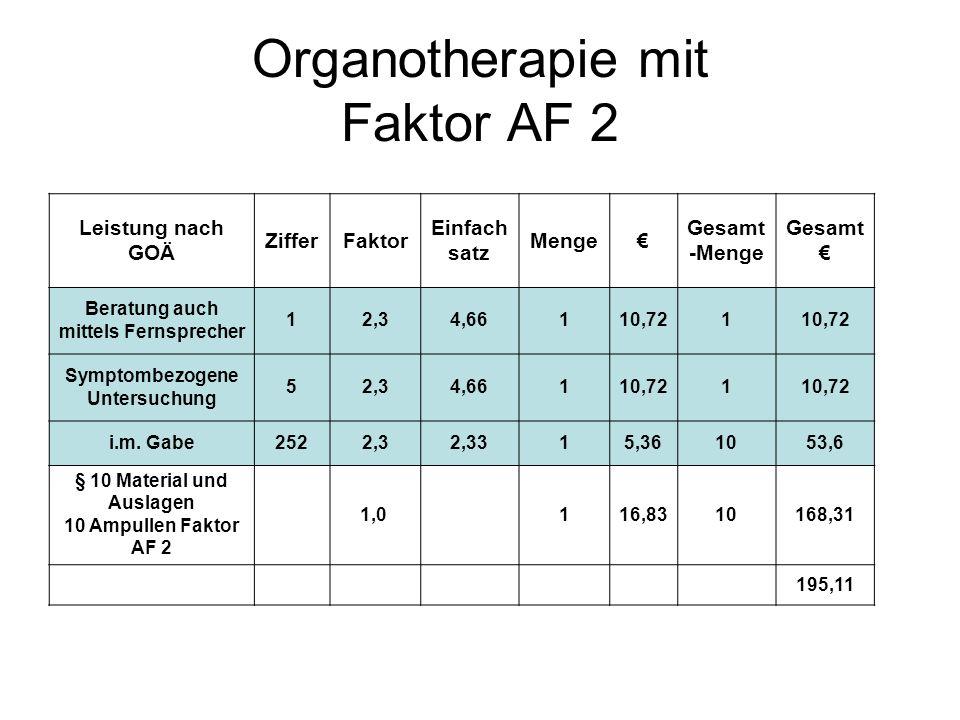 Organotherapie mit Faktor AF 2