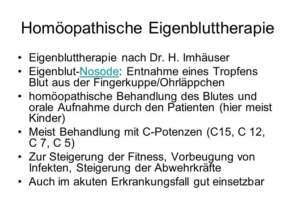 Homöopathische Eigenbluttherapie