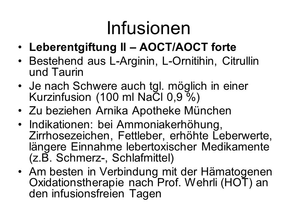 Infusionen Leberentgiftung II – AOCT/AOCT forte