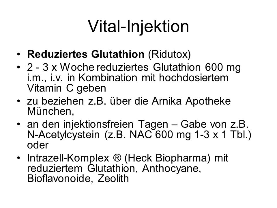 Vital-Injektion Reduziertes Glutathion (Ridutox)