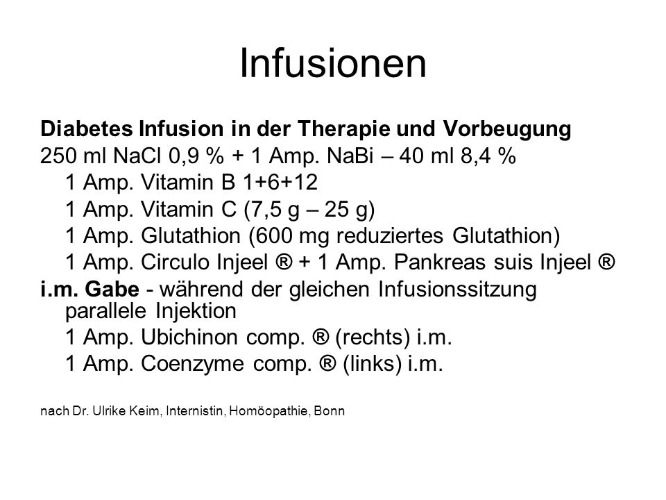 Infusionen Diabetes Infusion in der Therapie und Vorbeugung