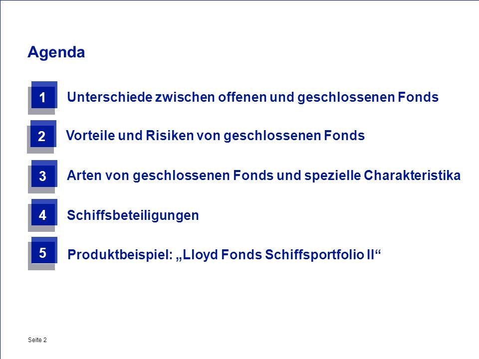 Agenda 1 Unterschiede zwischen offenen und geschlossenen Fonds 2