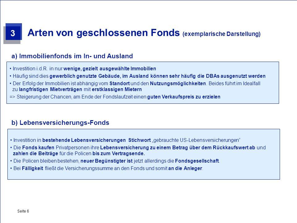 Arten von geschlossenen Fonds (exemplarische Darstellung)