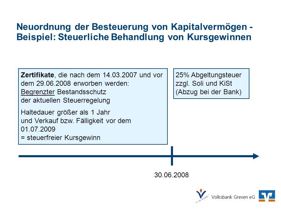 Neuordnung der Besteuerung von Kapitalvermögen - Beispiel: Steuerliche Behandlung von Kursgewinnen