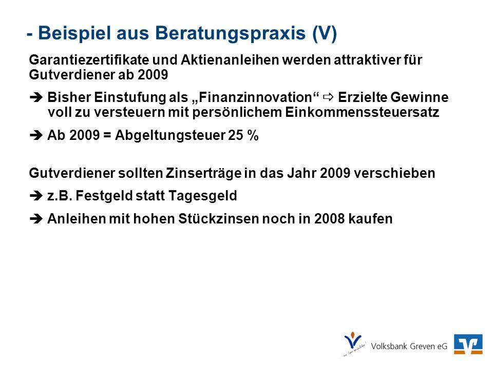 - Beispiel aus Beratungspraxis (V)