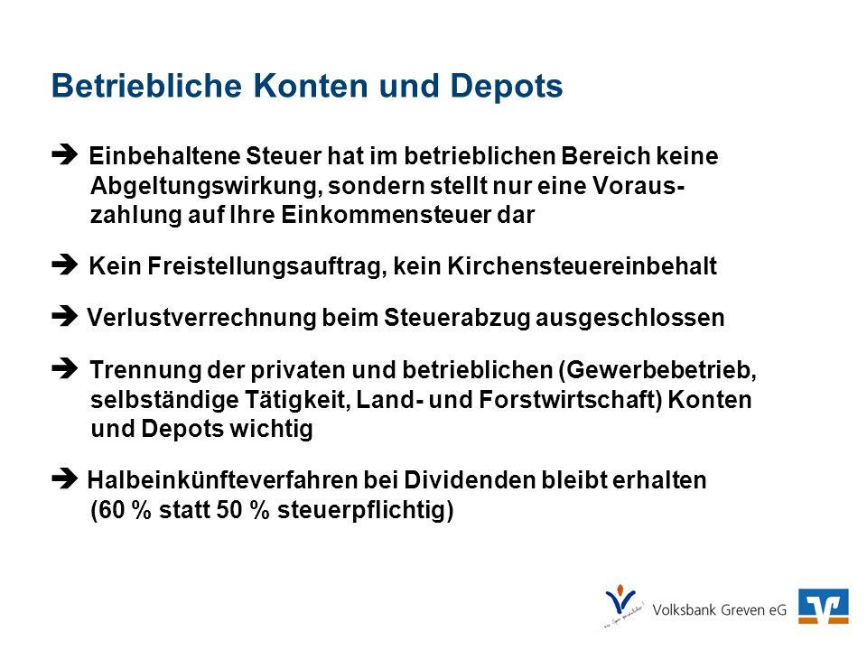Betriebliche Konten und Depots