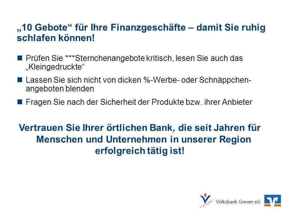 Vertrauen Sie Ihrer örtlichen Bank, die seit Jahren für