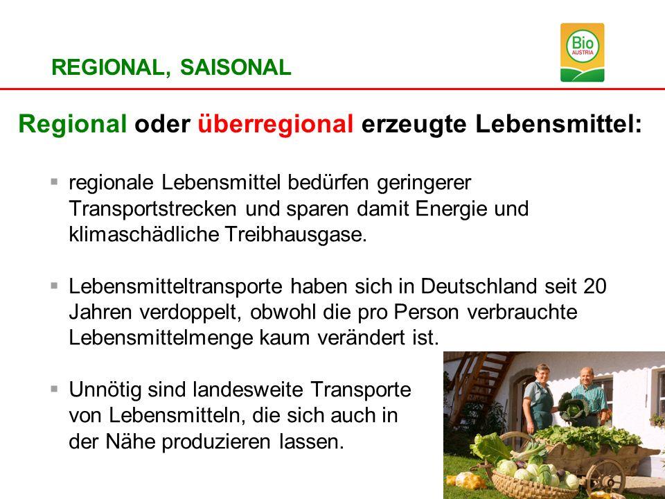 Regional oder überregional erzeugte Lebensmittel: