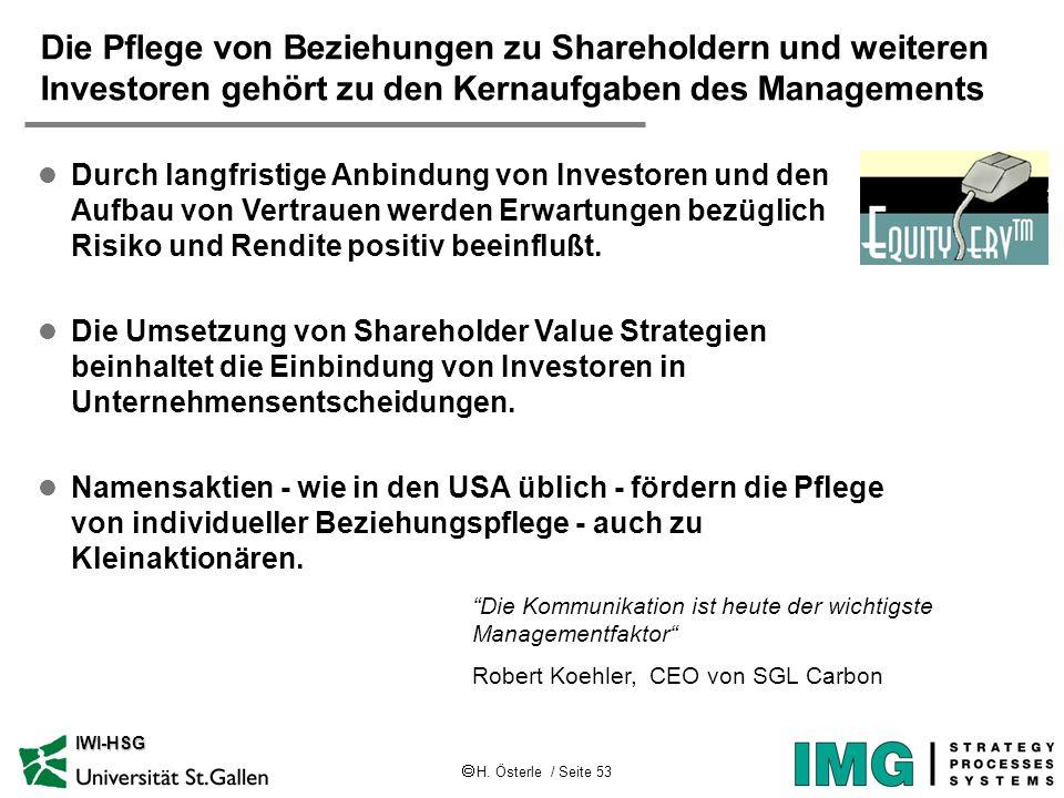 Die Pflege von Beziehungen zu Shareholdern und weiteren Investoren gehört zu den Kernaufgaben des Managements