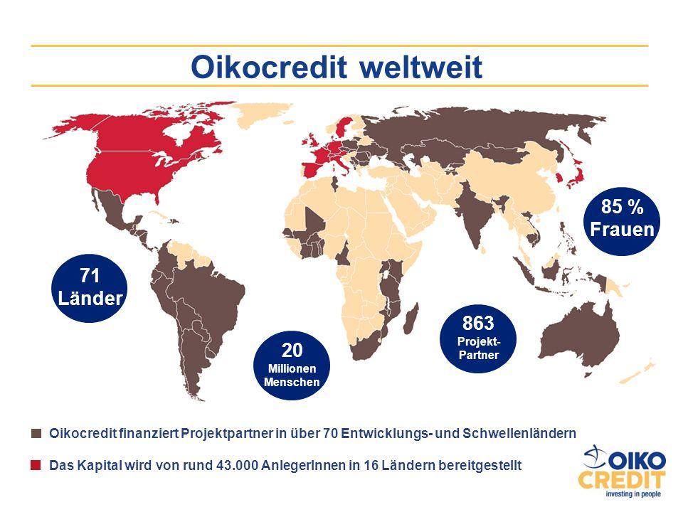 Oikocredit weltweit 85 % Frauen 71 Länder 863 Projekt-Partner