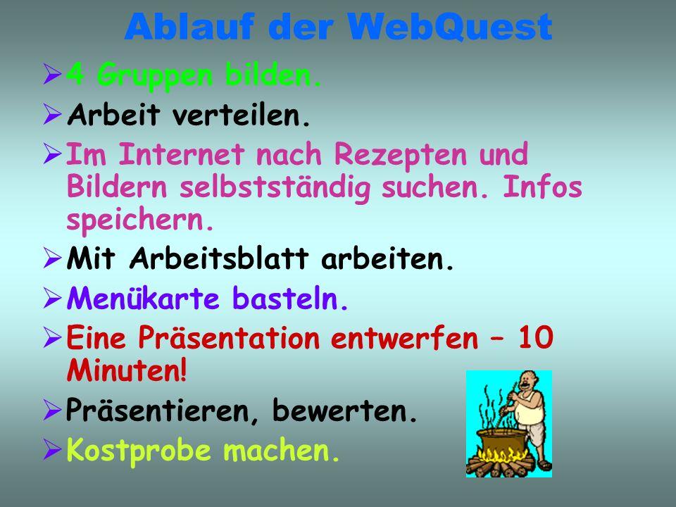 Ablauf der WebQuest 4 Gruppen bilden. Arbeit verteilen.