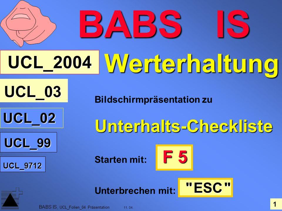 BABS IS Werterhaltung UCL_2004 Unterhalts-Checkliste UCL_02