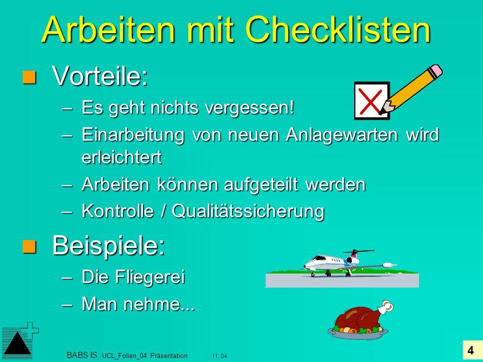 Arbeiten mit Checklisten
