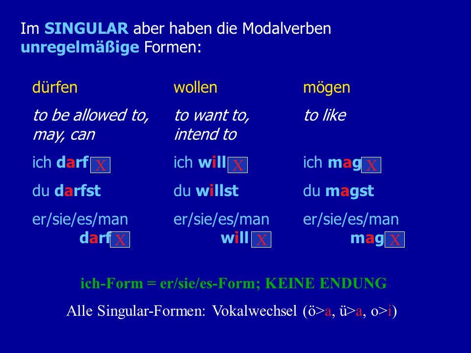 ich-Form = er/sie/es-Form; KEINE ENDUNG