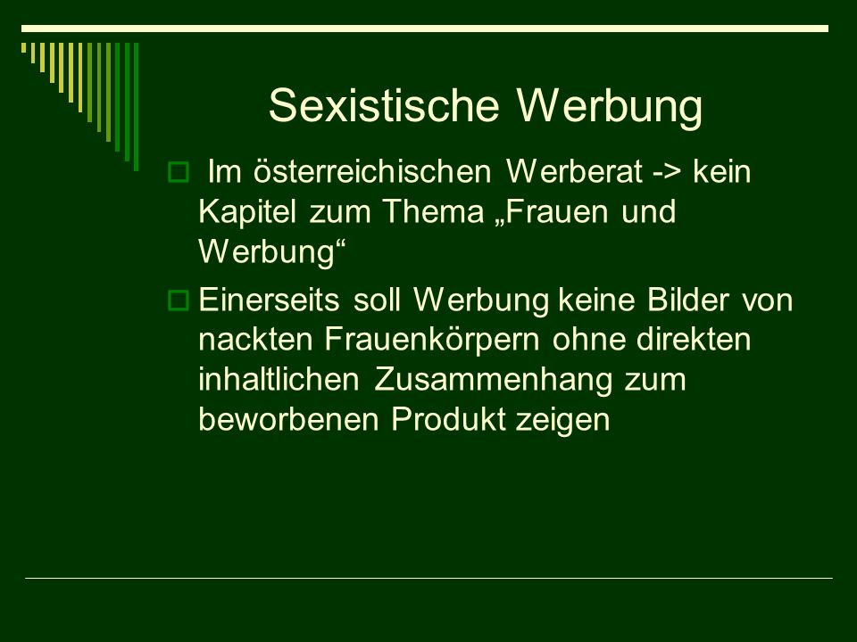"""Sexistische Werbung Im österreichischen Werberat -> kein Kapitel zum Thema """"Frauen und Werbung"""