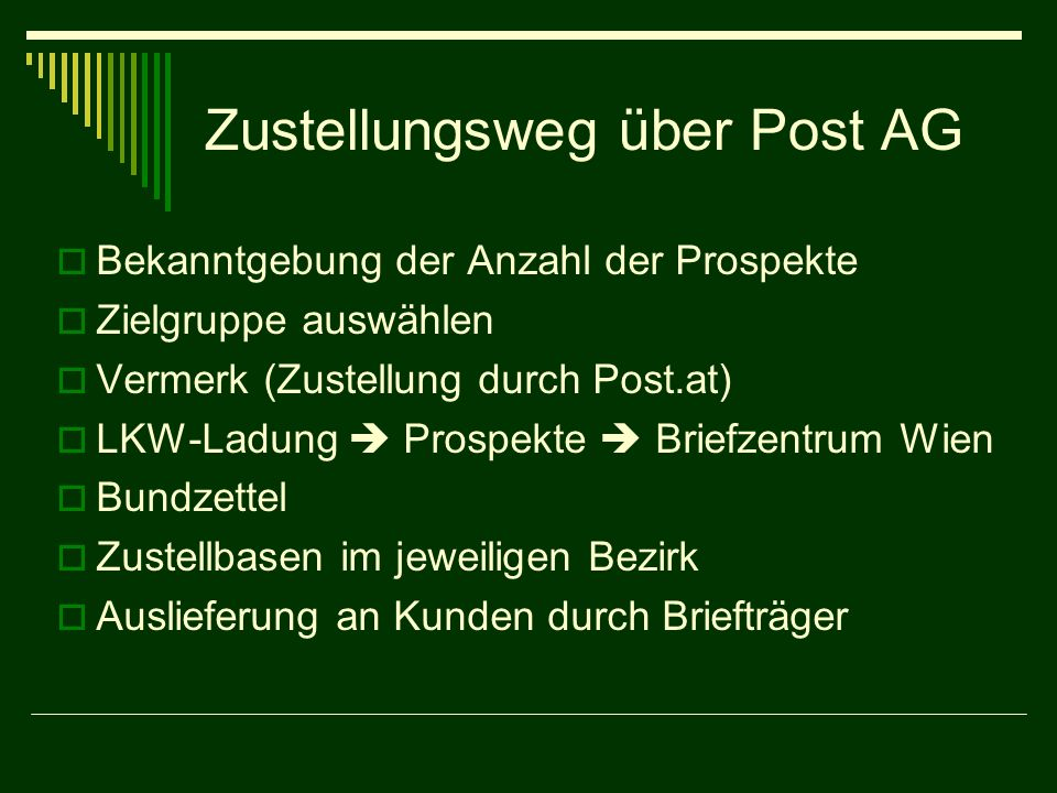 Zustellungsweg über Post AG