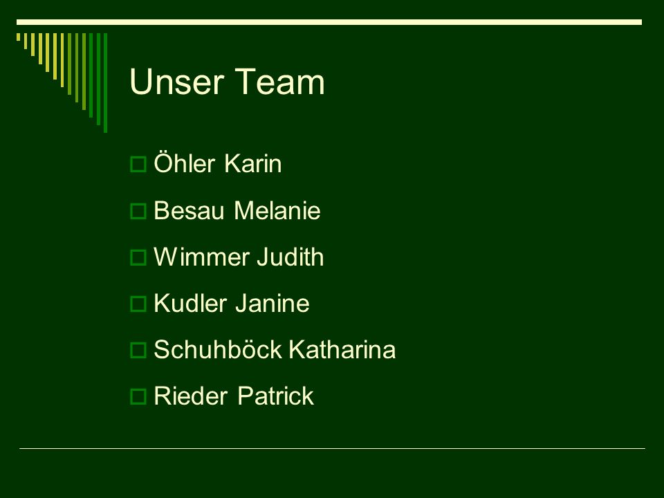 Unser Team Öhler Karin Besau Melanie Wimmer Judith Kudler Janine