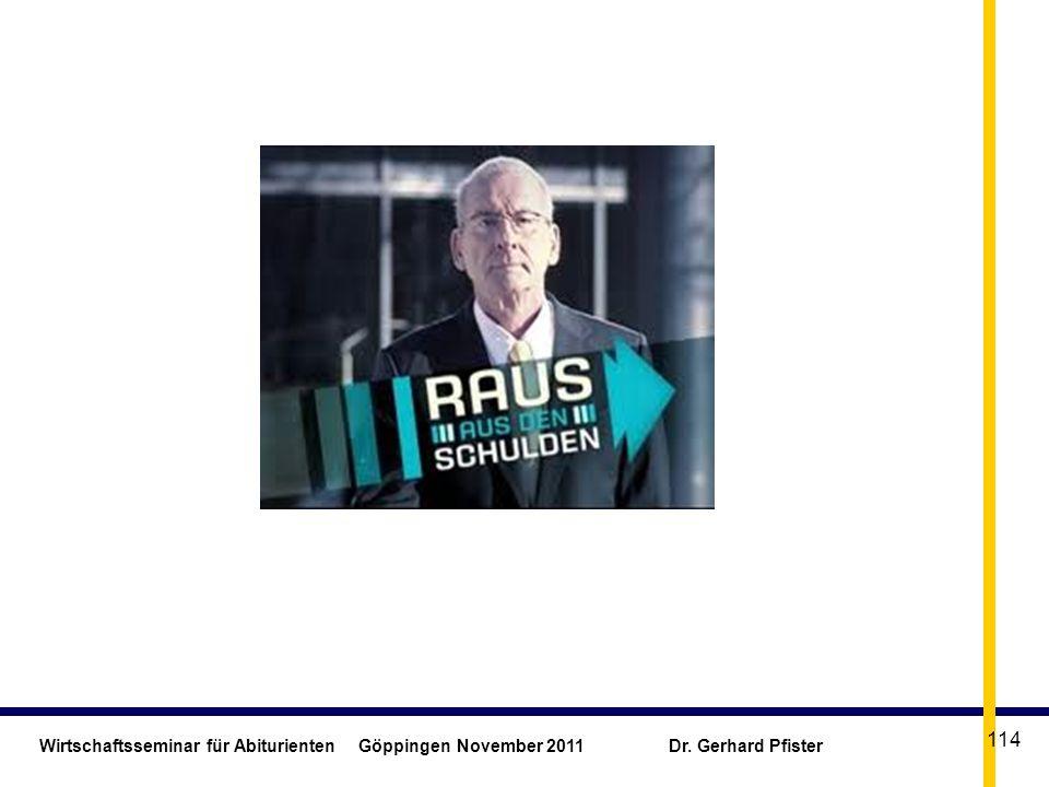 Wirtschaftsseminar für Abiturienten. Göppingen November 2011. Dr