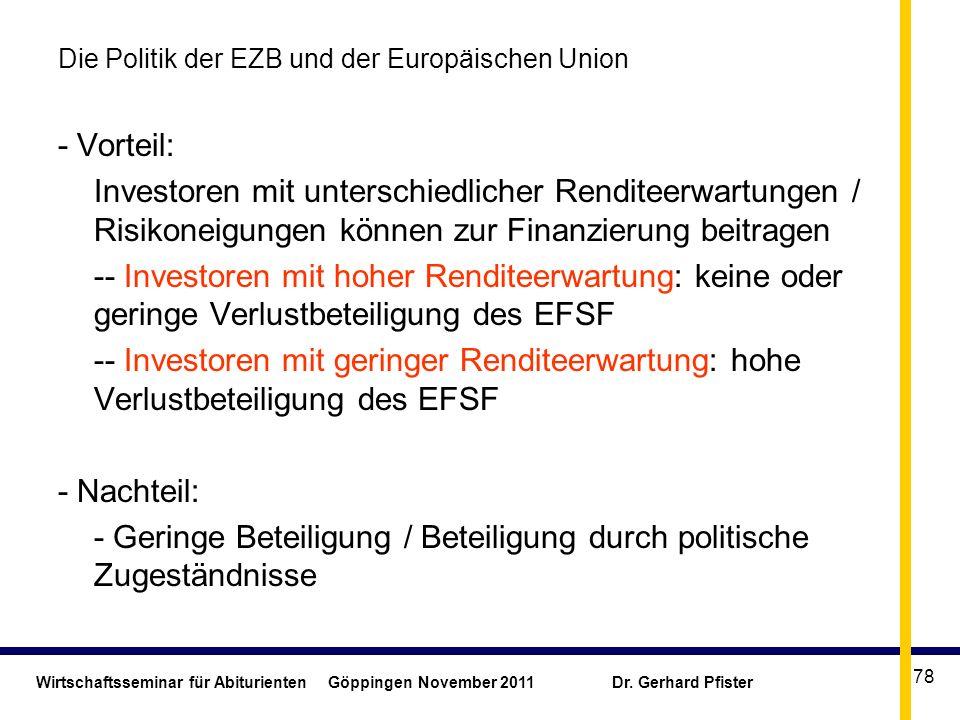 Die Politik der EZB und der Europäischen Union