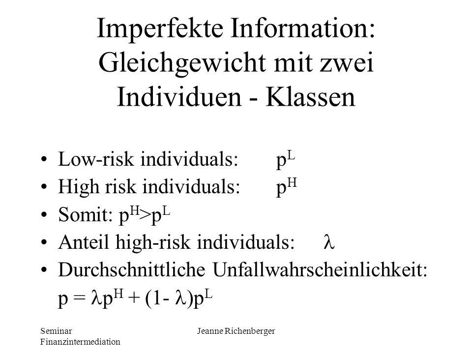 Imperfekte Information: Gleichgewicht mit zwei Individuen - Klassen