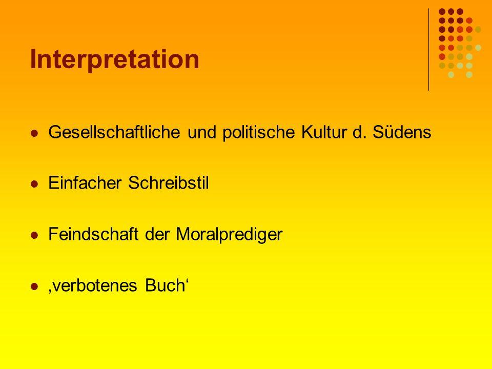 Interpretation Gesellschaftliche und politische Kultur d. Südens