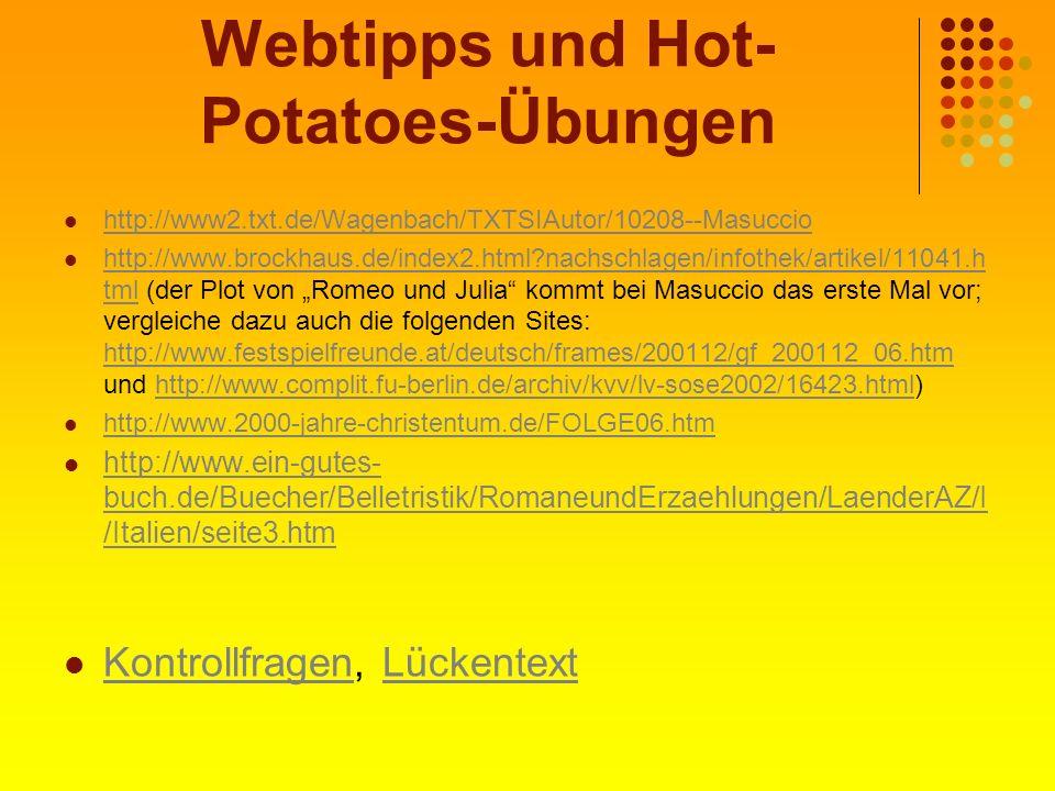 Webtipps und Hot-Potatoes-Übungen