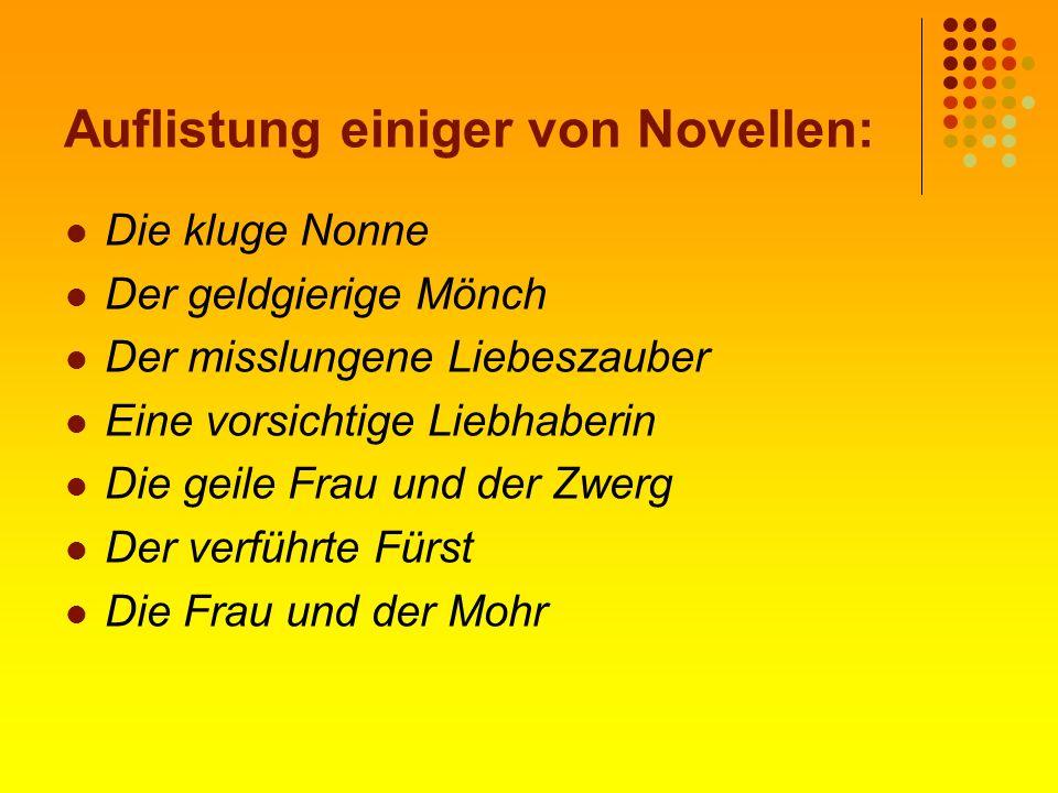 Auflistung einiger von Novellen: