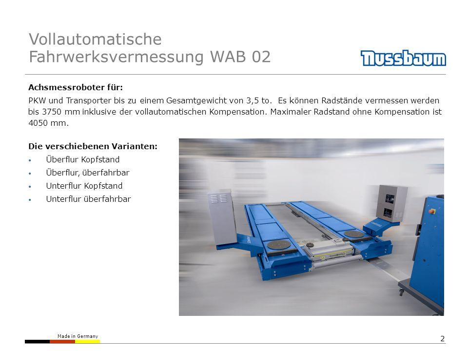 Vollautomatische Fahrwerksvermessung WAB 02