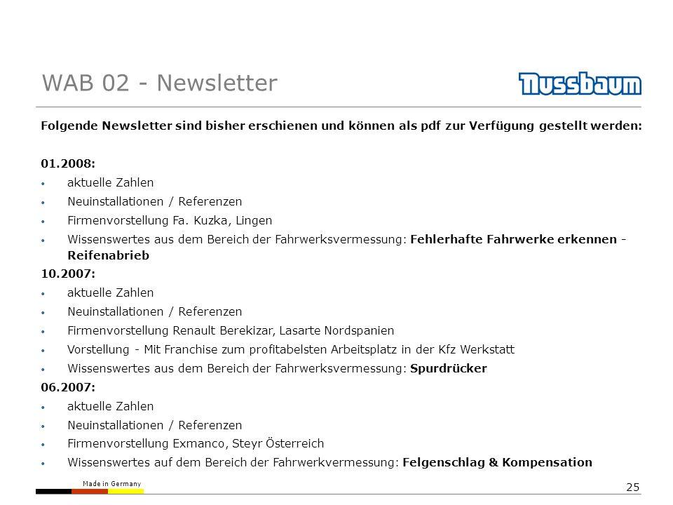 WAB 02 - Newsletter Folgende Newsletter sind bisher erschienen und können als pdf zur Verfügung gestellt werden: