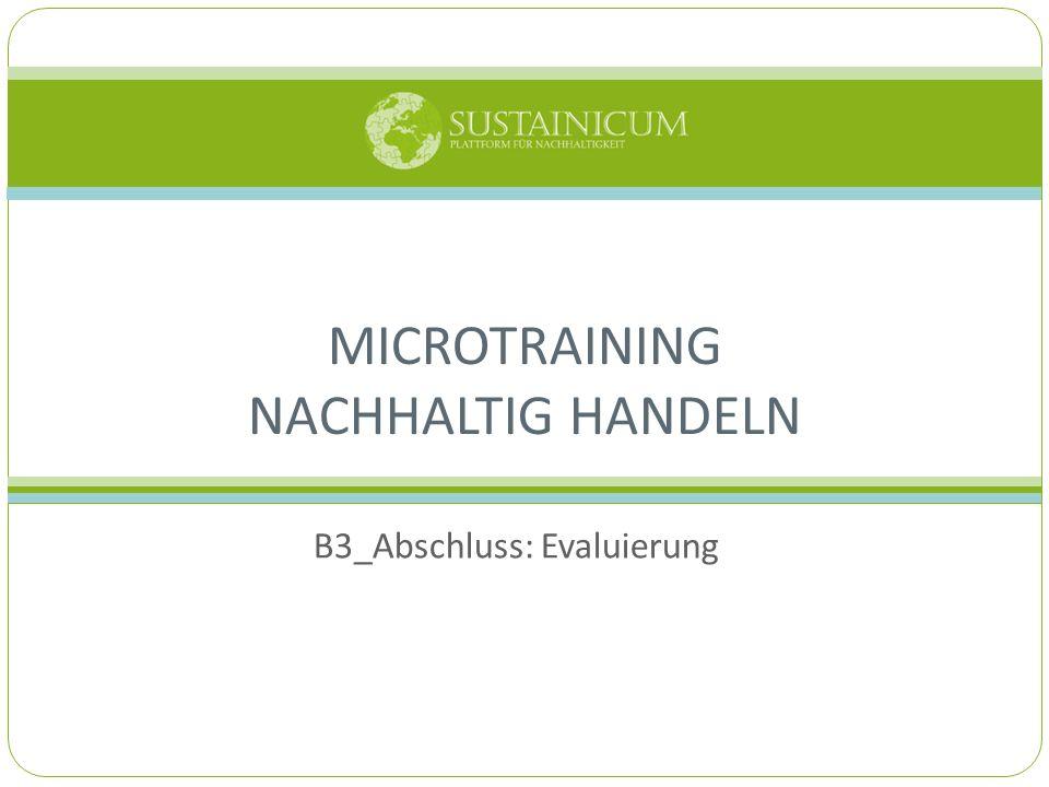 MICROTRAINING NACHHALTIG HANDELN