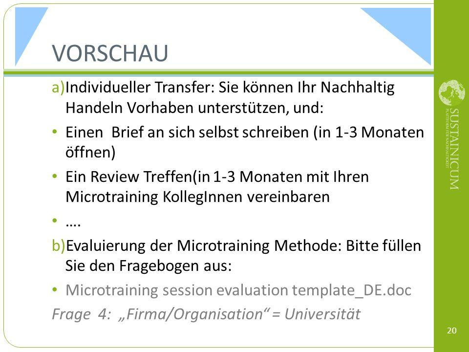 VORSCHAU Individueller Transfer: Sie können Ihr Nachhaltig Handeln Vorhaben unterstützen, und: